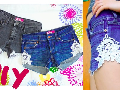 DIY ❤ Crochet distressed denim shorts from old jeans! Step by step