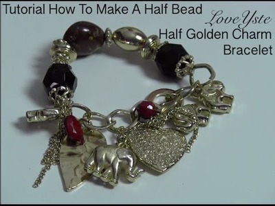 DIY - How To Make A Half Bead Half Golden Charm Bracelet (Easy Tutorial)