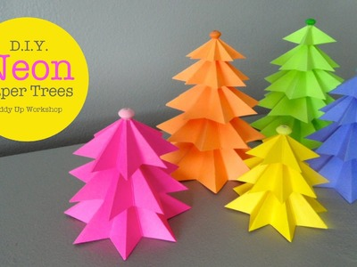 How to Make Easy Small Neon Paper Trees