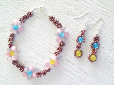PandaHall Jewelry Making Tutorial Video--How to Make Fun and Bright Flower Bracelet and Earring Set