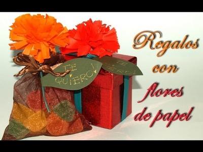 Regalos con Flores de Papel - DIY - Presents with Paper Flowers