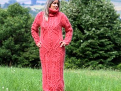 SEXY HAND KNITTED MOHAIR DRESS CORAL COLOR by EXTRAVAGANTZA