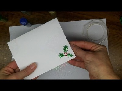 Craft:  Make your own Glittery Christmas Holly Card - Easy!  For kids. [part 3]