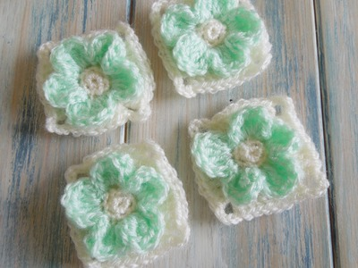 (crochet) How To - Crochet an Embossed Flower Granny Square - Yarn Scrap Friday
