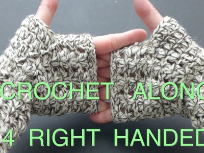 CROCHETED Easy Fingerless Lacy Gloves (4Right Handed)