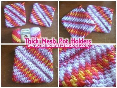 Crocheted Pot holders  Thick Crochet Mesh. Brick Stitch Stitch - Crochet Tutorial