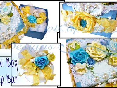 Decorated Origami Box & Soap Bar - Blue and Yellow Theme