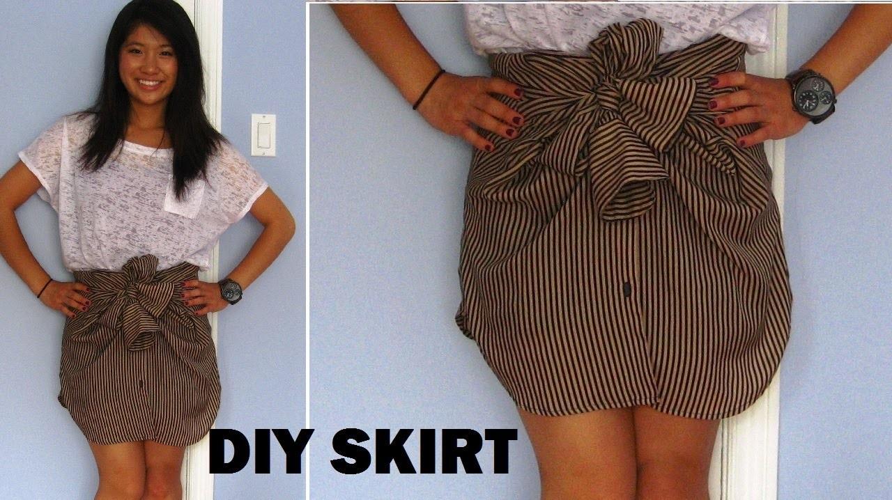 DIY: Long Sleeve Shirts into Skirts (No Sewing) | FashionbyAlly