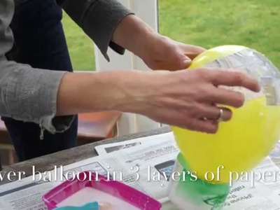 DIY paper mache balloon with PVA Glue and fabric decoupage