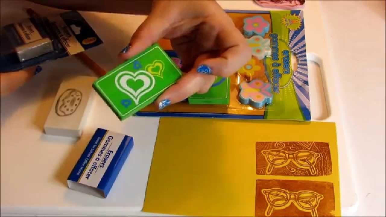 Hand-carved Stamp from an Eraser - Easy DIY!