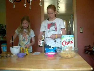 How to make puppy chow with Heather and Lauren!