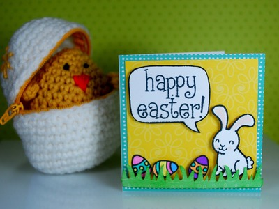 Mini 3x3 Easter Card.Envelope (with crocheted egg & chick)