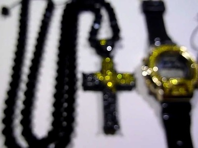 "(SOLD)COMBO: $135 ""Adjustable"" Black Diamond bead type Chain +Bracelet +Cross +G-Shock type watch!"