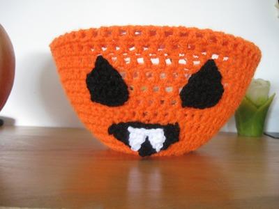 Vampire Jackolantern Bowl Cover - Crochet Tutorial