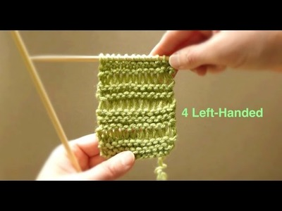 WATCH How To Knit Double Wrap PATTERN STITCH - VERY EASY (4 Lefties)