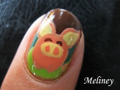 Animal Print Nail Art Tutorial - Bat Pig Cute Design for Short Nails hand painted DIY home made
