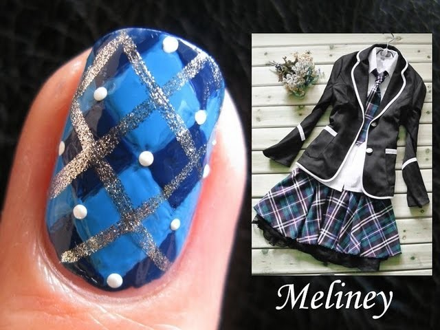 Back to School Nails - Argyle Sprinkle Plaid Nail Art Design For Short Nails Blue DIY Freehand