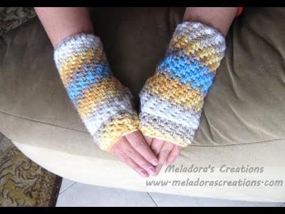 Brick Stitch Finger less Gloves - Left Handed Crochet Tutorial