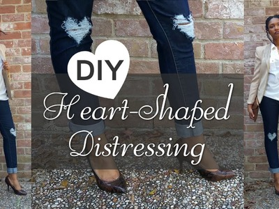 DIY Heart Shaped Distressing + Styling (Valentine's Outfit Idea)
