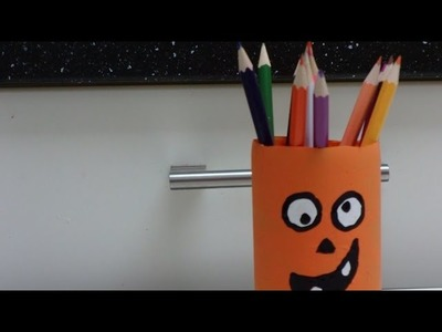 "Easy Recycled Crafts for Kids: ""Pumpkin"" Holder for Pencils"