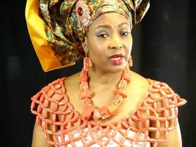 GELE AND AFRICAN CORAL BEADED BLOUSE (HEAD GEAR)