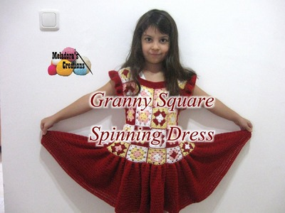 Granny Square Spinning Dress - Left Handed Crochet Tutorial