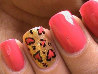 Heart Leopard nail art tutorial In french tip nails designs for beginners cute nail polish ideas DIY