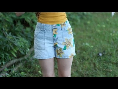 Poppin' Tags: Thrifting Back To School DIY Projects (Sunflower Shorts and Dorm Decor)