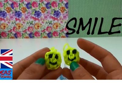 Rainbow loom charms easy smiley face  - DIY Loom Band Smiley Charms Tutorial