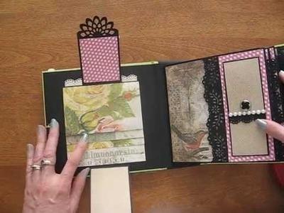6x6 Scrapbook Mini Album with Tim Holtz Wallflower Paper Stack (Birds, bugs, wildflowers)