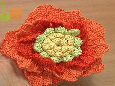 Big Crochet Flower Tutorial 62 Part 1 of 3 Crochet 3-Layered Center