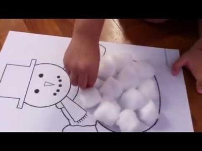 Cotton Ball Snowman craft - at 2 years 5 mths