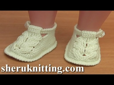 Crochet Baby Cable Stitch Buckle Shoes Tutorial 54  Part 1 of 3 Crochet Sole