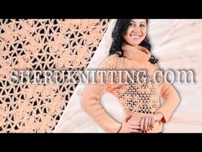 Crochet Mesh Sweater With Cluster Stitch Flower Model 14