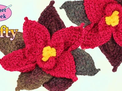 CROCHET POINSETTIA FLOWER Christmas - Left Hand Crochet Geek