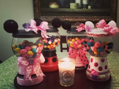 DIY Mickey and Minnie,Hello Kitty Gumball Pot's. Part One