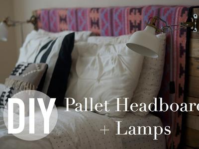 DIY Pallet Headboard + Lamps | IKEA HACK