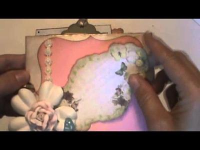 DIY Shabby chic distressed chipboard pocket mini scrapbook album envelope lbum