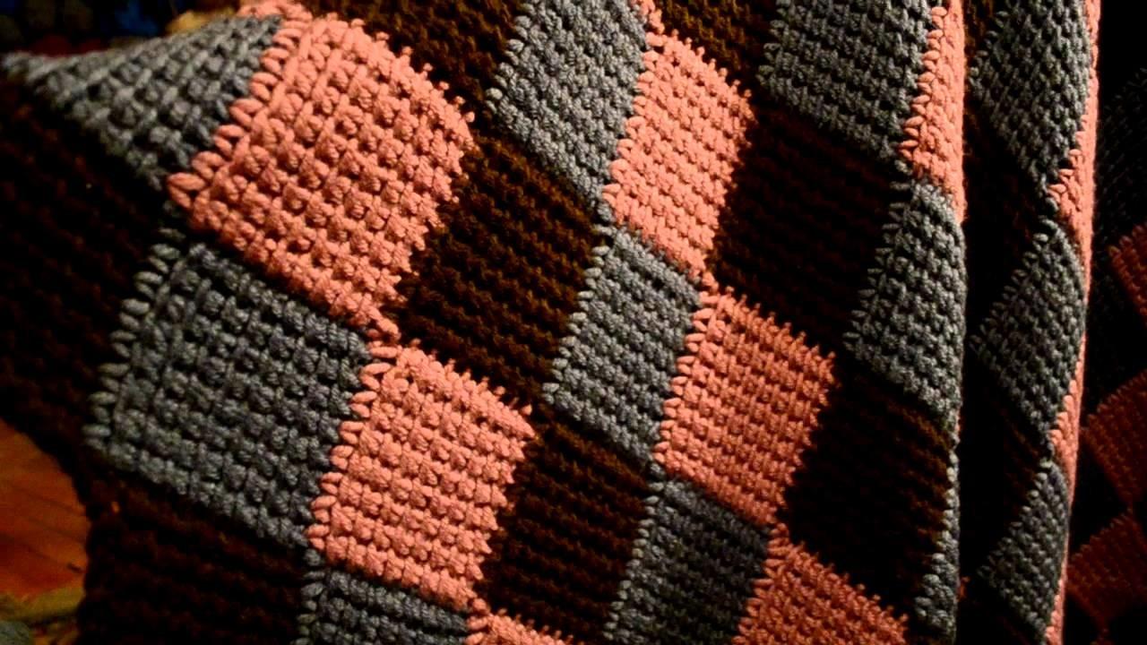 Entrelac. Afghan stitch crocheted blanket