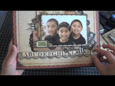 """Graphic 45: 12x12 An ABC Primer """"The Boys"""" Scrapbook Page"""