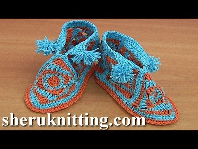 How to Crochet Square Motif Booties Tutorial 42 Part 2 of 2 Chausson pour bébé