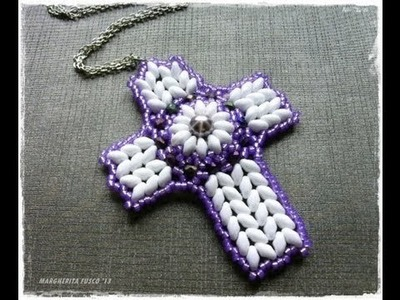 How to make a cross using superduo beads, bead tutorial, diy jewelry