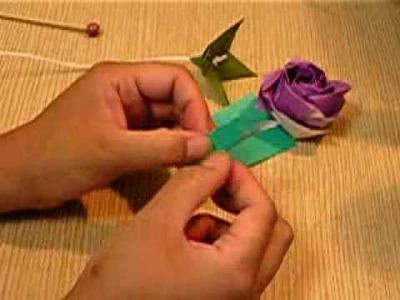 Simple origami rose leaf