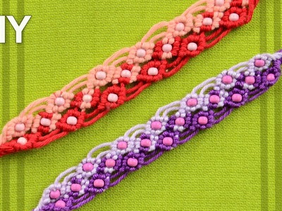 Two Color Macrame Bracelet with Beads. Tutorial