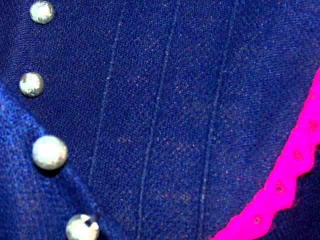 Vintage MOD 60s Blue Pink Crochet Lace LS Hippie Mini Dress Skirt Womens Sz S