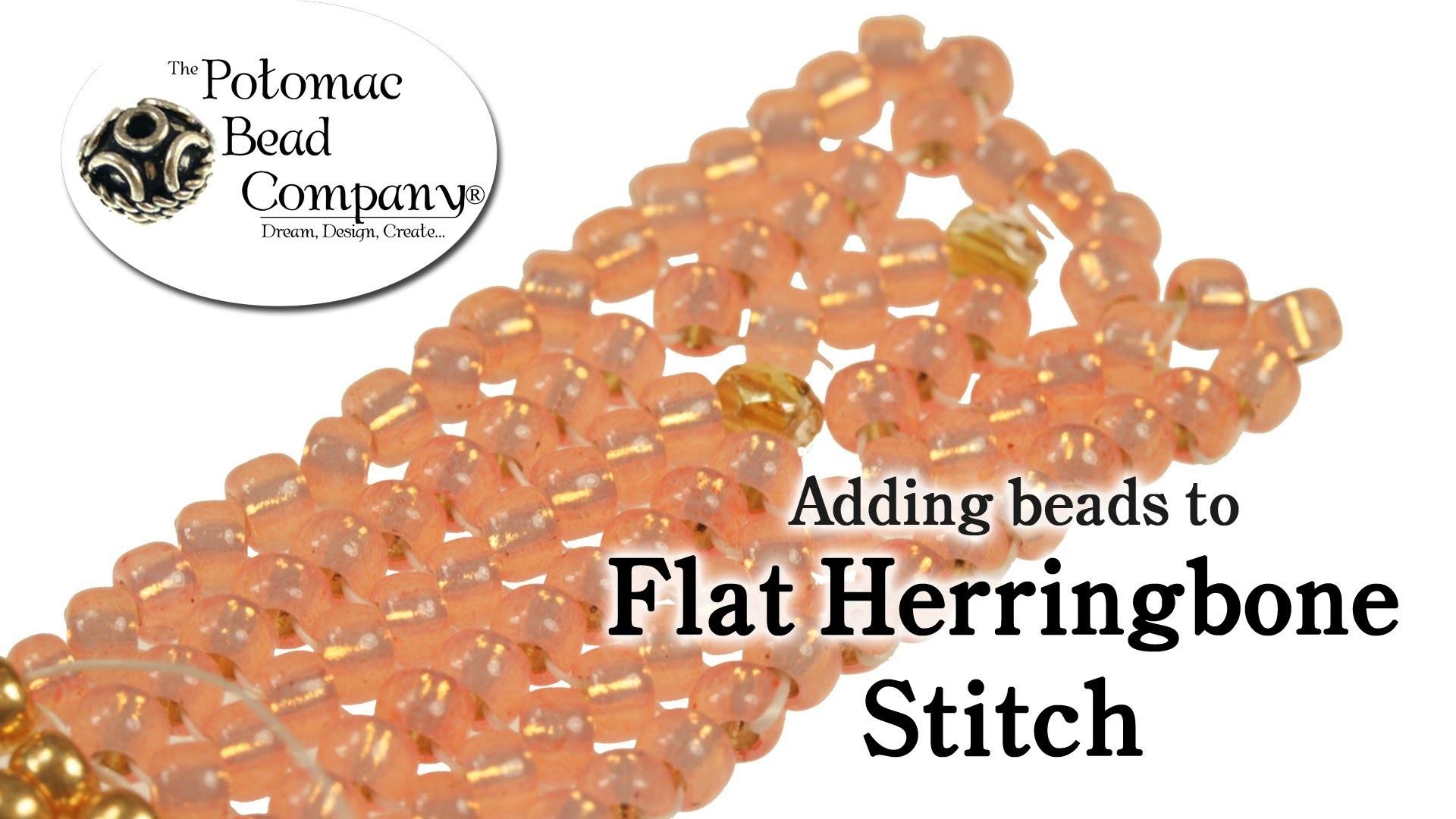 Adding Beads to Flat Herringbone Stitch