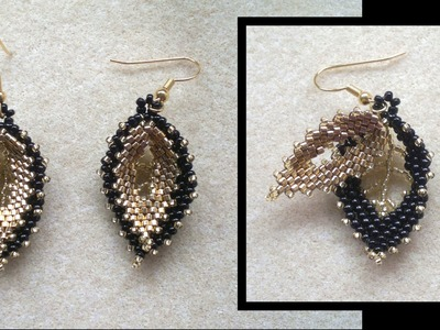 Beading4perfectionists : Russian double leaf earrings beading tutorial (picture version)