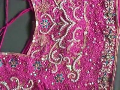 Dark Pink Bridal lehenga choli designed with pearl moti work - Figura Fashion