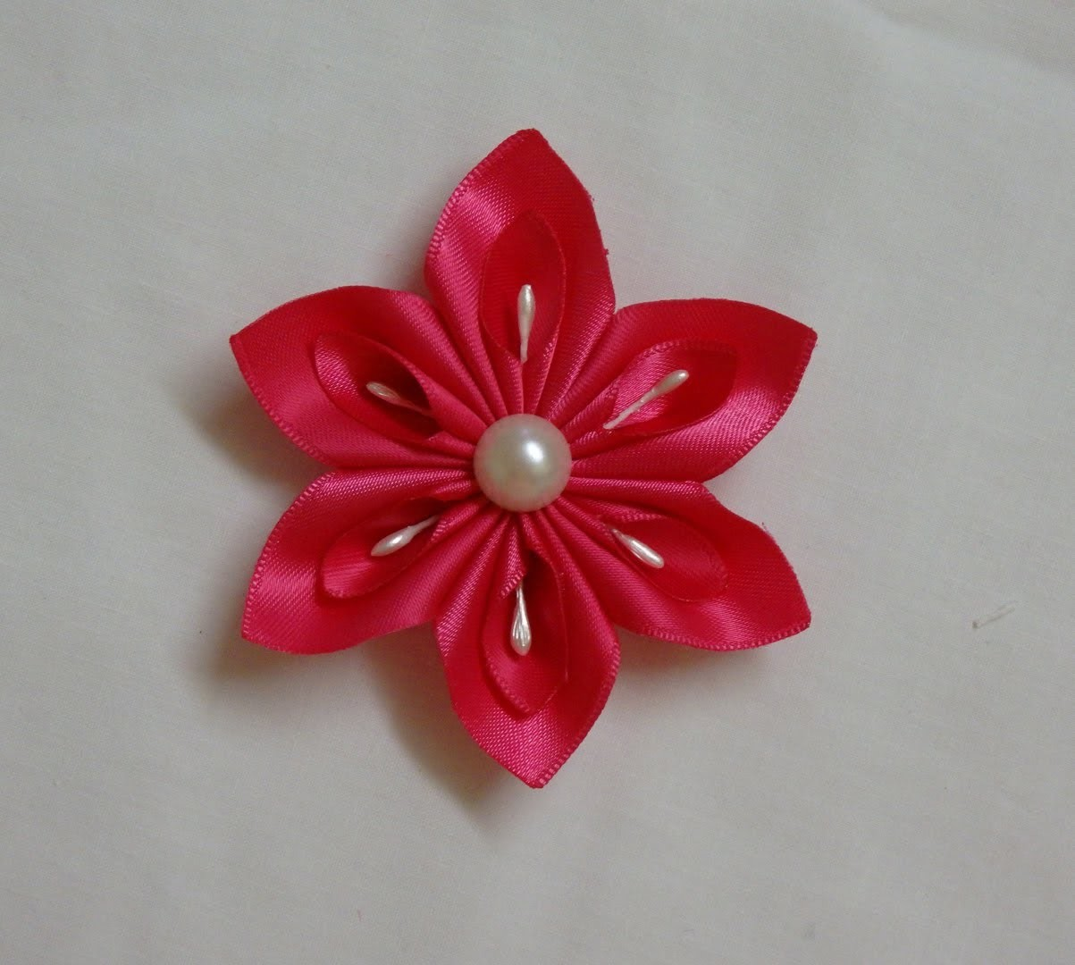 DIY Kanzashi flower, easy ribbon flowers tutorial, how to make,kanzashi flores de cinta