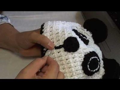 How to crochet a panda beanie - video 3